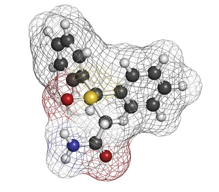enhancer: Modafinil wakefulness promoting drug, chemical structure. Used to treat narcolepsy. Atoms are represented as spheres with conventional color coding: hydrogen (white), carbon (grey), nitrogen (blue), oxygen (red), sulfur (yellow)