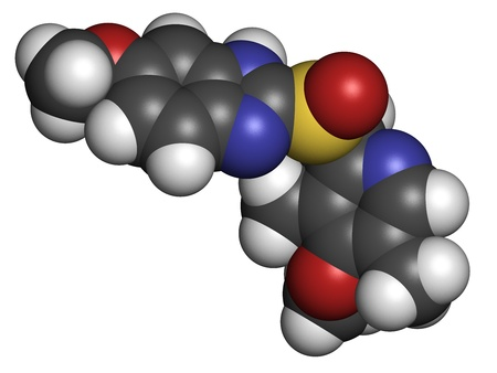 proton: Omeprazole dyspepsia and peptic ulcer disease drug (proton pump inhibitor), chemical structure.  Atoms are represented as spheres with conventional color coding: hydrogen (white), carbon (grey), oxygen (red), nitrogen (blue), sulfur (yellow)