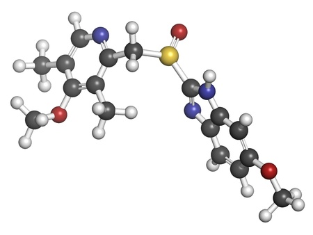 ulc�re: Om�prazole dyspepsie et gastro-duod�nal m�dicament de l'ulc�re (inhibiteur de pompe � protons), la structure chimique. Les atomes sont repr�sent�s par des sph�res avec codage couleur conventionnels: l'hydrog�ne (blanc), le carbone (gris), d'oxyg�ne (rouge), l'azote (en bleu), le soufre (jaune) Banque d'images
