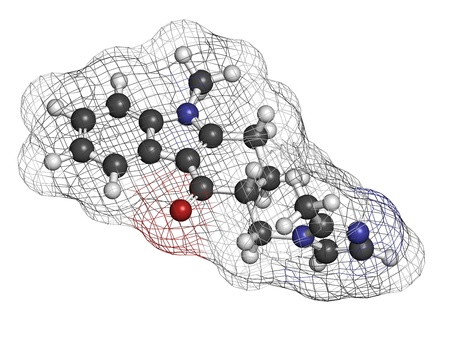 Ondansetron nausea and vomiting treatment drug, chemical structure. Atoms are represented as spheres with conventional color coding: hydrogen (white), carbon (grey), oxygen (red), nitrogen (blue) Stock Photo - 21198837