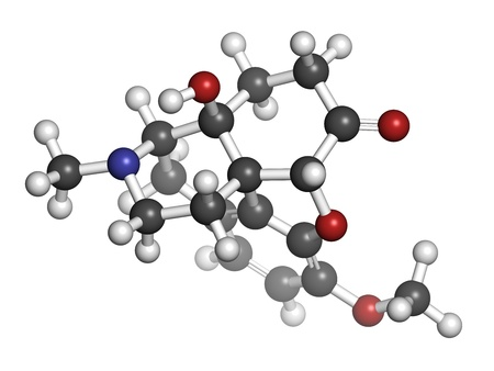 palliative: Oxycodone pain relief drug, chemical structure. Atoms are represented as spheres with conventional color coding: hydrogen (white), carbon (grey), oxygen (red), nitrogen (blue)