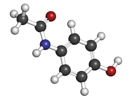 Paracetamol (acetaminophen) pain relief and fever reducing drug, chemical structure. Atoms are represented as spheres with conventional color coding: hydrogen (white), carbon (grey), oxygen (red), nitrogen (blue) photo