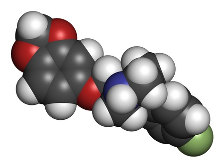 premenstrual: Paroxetine antidepressant drug (SSRI class), chemical structure. Atoms are represented as spheres with conventional color coding: hydrogen (white), carbon (grey), nitrogen (blue), oxygen (red), fluorine (green) Stock Photo