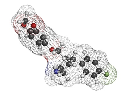 antidepressant: Paroxetine antidepressant drug (SSRI class), chemical structure. Atoms are represented as spheres with conventional color coding: hydrogen (white), carbon (grey), nitrogen (blue), oxygen (red), fluorine (green) Stock Photo