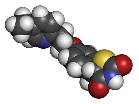 Pioglitazone diabetes drug, chemical structure. Atoms are represented as spheres with conventional color coding: hydrogen (white), carbon (grey), oxygen (red), nitrogen (blue), sulfur (yellow) Stock Photo - 21198851