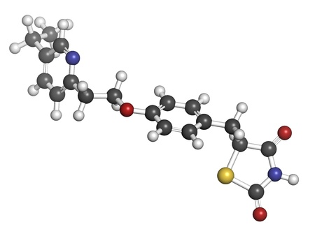 Pioglitazone diabetes drug, chemical structure. Atoms are represented as spheres with conventional color coding: hydrogen (white), carbon (grey), oxygen (red), nitrogen (blue), sulfur (yellow) Stock Photo - 21198852