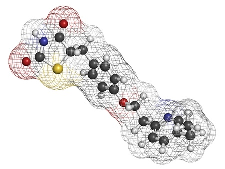 Pioglitazone diabetes drug, chemical structure. Atoms are represented as spheres with conventional color coding: hydrogen (white), carbon (grey), oxygen (red), nitrogen (blue), sulfur (yellow) Stock Photo - 21198853