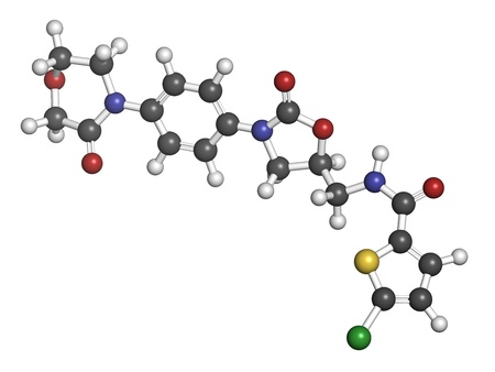 coagulation: Rivaroxaban anticoagulant drug (direct factor Xa inhibitor), chemical structure. Atoms are represented as spheres with conventional color coding: hydrogen (white), carbon (grey), oxygen (red), nitrogen (blue), sulfur (yellow), chlorine (green)