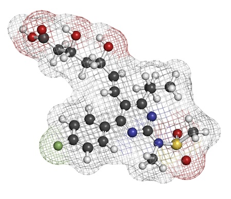 lowering: Rosuvastatin cholesterol lowering drug (statin class), chemical structure. Atoms are represented as spheres with conventional color coding: hydrogen (white), carbon (grey), oxygen (red), nitrogen (blue), sulfur (yellow), fluorine (green)