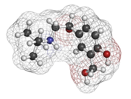 Salbutamol (albuterol) asthma drug, chemical structure. Often administered via inhaler. Atoms are represented as spheres with conventional color coding: hydrogen (white), carbon (grey), oxygen (red), nitrogen (blue) photo