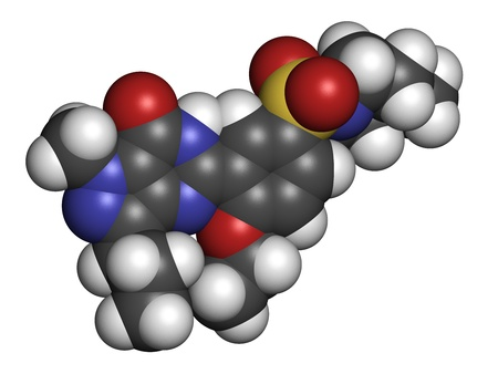 erectile: Sildenafil erectile dysfunction drug, chemical structure. Atoms are represented as spheres with conventional color coding: hydrogen (white), carbon (grey), oxygen (red), nitrogen (blue), sulfur (yellow)