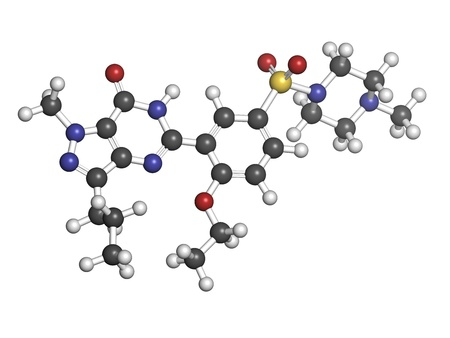 Sildenafil erectile dysfunction drug, chemical structure. Atoms are represented as spheres with conventional color coding: hydrogen (white), carbon (grey), oxygen (red), nitrogen (blue), sulfur (yellow) photo