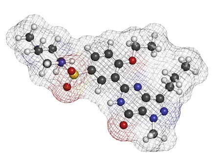 dysfunction: Sildenafil erectile dysfunction drug, chemical structure. Atoms are represented as spheres with conventional color coding: hydrogen (white), carbon (grey), oxygen (red), nitrogen (blue), sulfur (yellow)