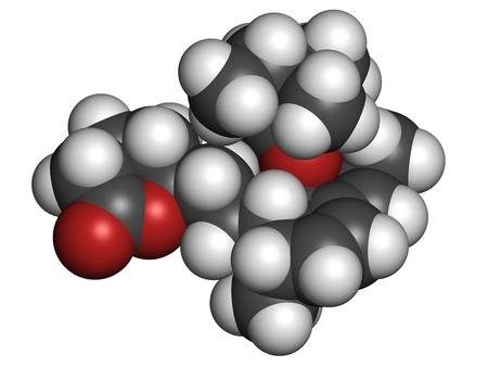 lowering: Simvastatin cholesterol lowering drug (statin class), chemical structure. Atoms are represented as spheres with conventional color coding: hydrogen (white), carbon (grey), oxygen (red) Stock Photo