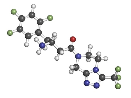 hypoglycemic: Sitagliptin diabetes drug, chemical structure. Atoms are represented as spheres with conventional color coding: hydrogen (white), carbon (grey), oxygen (red), nitrogen (blue), fluorine (green) Stock Photo