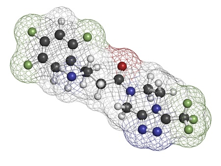 antidiabetic: Sitagliptin diabetes drug, chemical structure. Atoms are represented as spheres with conventional color coding: hydrogen (white), carbon (grey), oxygen (red), nitrogen (blue), fluorine (green) Stock Photo