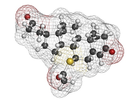 diuretic: Spironolactone diuretic, antihypertensive and antiandrogen drug, chemical structure. Atoms are represented as spheres with conventional color coding: hydrogen (white), carbon (grey), oxygen (red), sulfur (yellow) Stock Photo