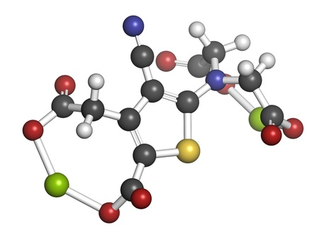 strontium: Strontium ranelate osteoporosis drug, chemical structure. Atoms are represented as spheres with conventional color coding: hydrogen (white), carbon (grey), oxygen (red), nitrogen (blue), sulfur (yellow), strontium (green)