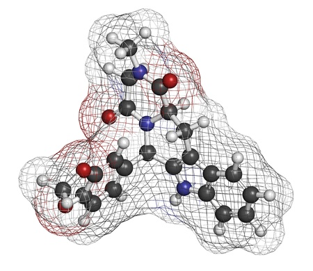 dysfunction: Tadalafil erectile dysfunction drug, chemical structure. Atoms are represented as spheres with conventional color coding: hydrogen (white), carbon (grey), oxygen (red), nitrogen (blue)