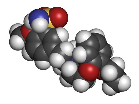 benign: Tamsulosin benign prostatic hyperplasia (BPH) drug, chemical structure. Atoms are represented as spheres with conventional color coding: hydrogen (white), carbon (grey), oxygen (red), nitrogen (blue), sulfur (yellow) Stock Photo