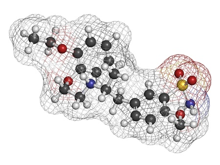 prostatic: Tamsulosin benign prostatic hyperplasia (BPH) drug, chemical structure. Atoms are represented as spheres with conventional color coding: hydrogen (white), carbon (grey), oxygen (red), nitrogen (blue), sulfur (yellow) Stock Photo