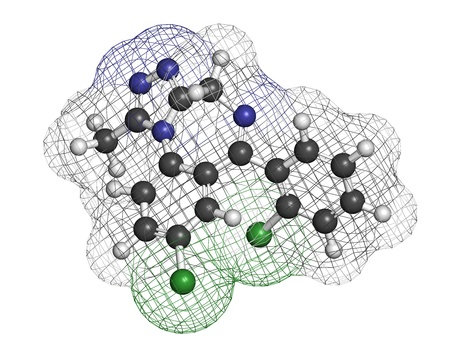 benzodiazepine: Triazolam insomnia drug (sleeping pill, benzodiazepine class), chemical structure. Atoms are represented as spheres with conventional color coding: hydrogen (white), carbon (grey), nitrogen (blue), chlorine (green)