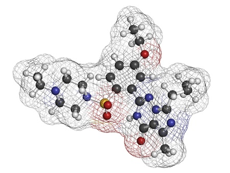 dysfunction: Vardenafil erectile dysfunction drug, chemical structure. Atoms are represented as spheres with conventional color coding: hydrogen (white), carbon (grey), oxygen (red), nitrogen (blue), sulfur (yellow)