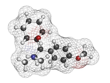 norepinephrine: Venlafaxine antidepressant drug (SNRI class), chemical structure. Atoms are represented as spheres with conventional color coding: hydrogen (white), carbon (grey), nitrogen (blue), oxygen (red)