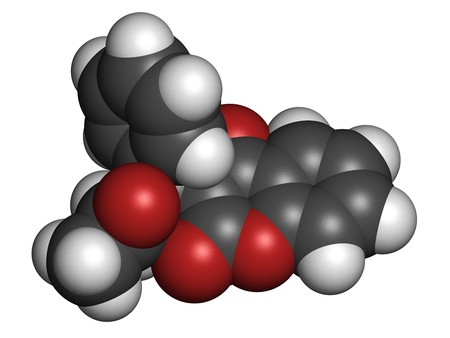 anticoagulant: La warfarina anticoagulante drogas, la estructura qu�mica. Se utiliza en la prevenci�n de la trombosis y la tromboembolia. Los �tomos se representan como esferas con c�digo de colores convencionales: hidr�geno (blanco), el carb�n (gris), ox�geno (roja) Foto de archivo