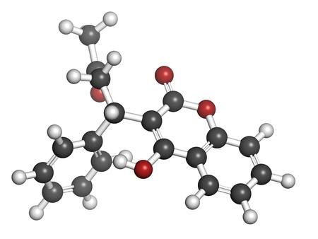 generic drugs: Farmaco anticoagulante Warfarin, struttura chimica. Utilizzato nella trombosi e prevenzione tromboembolismo. Gli atomi sono rappresentati come sfere con convenzionale codifica a colori: idrogeno (bianco), carbonio (grigio), ossigeno (rosso)
