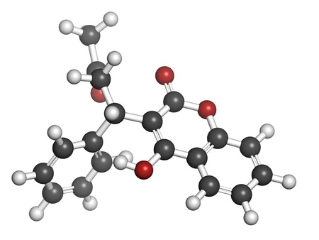 hydrogen: Warfarin anticoagulant drug, chemical structure. Used in thrombosis and thromboembolism prevention. Atoms are represented as spheres with conventional color coding: hydrogen (white), carbon (grey), oxygen (red) Stock Photo