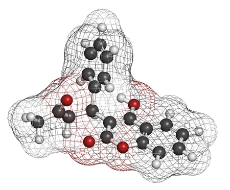 embolism: Warfarin anticoagulant drug, chemical structure. Used in thrombosis and thromboembolism prevention. Atoms are represented as spheres with conventional color coding: hydrogen (white), carbon (grey), oxygen (red) Stock Photo