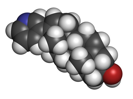 urologist: Abiraterone prostate cancer drug, chemical structure. Atoms are represented as spheres with conventional color coding: hydrogen (white), carbon (grey), nitrogen (blue), oxygen (red).