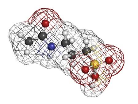 abstinence: Acamprosate droga trattamento dell'alcolismo, struttura chimica. Gli atomi sono rappresentati come sfere con codifica a colori convenzionale: idrogeno (bianco), carbonio (grigio), azoto (blu), ossigeno (rosso), zolfo (giallo)