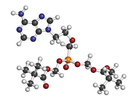 hsv: Adefovir dipivoxil hepatitis B and herpes simplex virus (HSV) drug, chemical structure. Atoms are represented as spheres with conventional color coding: hydrogen (white), carbon (grey), nitrogen (blue), oxygen (red), phosphorus (orange). Stock Photo