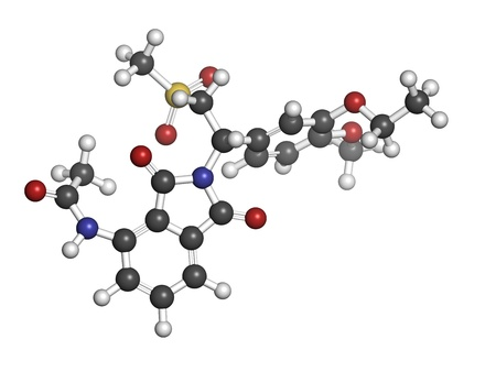spondylitis: Apremilast investigational psoriasis drug, chemical structure. Atoms are represented as spheres with conventional color coding: hydrogen (white), carbon (grey), nitrogen (blue), oxygen (red), sulfur (yellow).