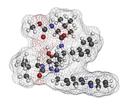 protease: Atazanavir medicamentos contra el VIH (clase de los inhibidores de proteasa), la estructura qu�mica. Los �tomos se representan como esferas con c�digo de colores convencionales: hidr�geno (blanco), el carb�n (gris), nitr�geno (azul), el ox�geno (roja).