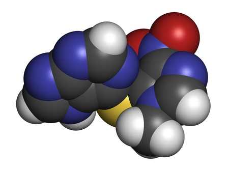 Azathioprine immunosuppressive drug, chemical structure. Used to prevent transplant rejection and in treatment of autoimmune disease. Atoms are represented as spheres with conventional color coding: hydrogen (white), carbon (grey), nitrogen (blue), oxygen Stock Photo - 21339596