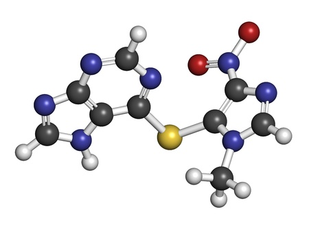 erythematosus: Azathioprine immunosuppressive drug, chemical structure. Used to prevent transplant rejection and in treatment of autoimmune disease. Atoms are represented as spheres with conventional color coding: hydrogen (white), carbon (grey), nitrogen (blue), oxygen