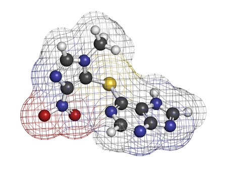 Azathioprine immunosuppressive drug, chemical structure. Used to prevent transplant rejection and in treatment of autoimmune disease. Atoms are represented as spheres with conventional color coding: hydrogen (white), carbon (grey), nitrogen (blue), oxygen photo