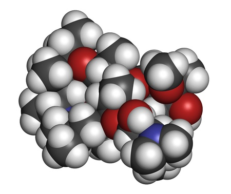 Azithromycin antibiotic drug (macrolide class), chemical structure. Atoms are represented as spheres with conventional color coding: hydrogen (white), carbon (grey), nitrogen (blue), oxygen (red). Stock Photo