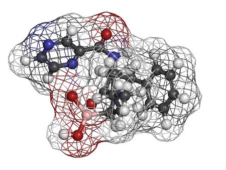 boro: Bortezomib c�ncer de las drogas (inhibidor de proteasoma), la estructura qu�mica. Los �tomos se representan como esferas con c�digo de colores convencionales: hidr�geno (blanco), el carb�n (gris), nitr�geno (azul), el ox�geno (roja), boro (rosa).