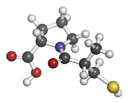 inhibitor: Captopril high blood pressure (hypertension) drug. An angiotensin-converting enzyme inhibitor (ACE inhibitor) Atoms are represented as spheres with conventional color coding: hydrogen (white), carbon (grey), oxygen (red), sulfur (yellow), nitrogen (blue)