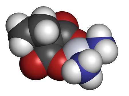 chemotherapeutic: Carboplatin cancer chemotherapy drug, chemical structure. Atoms are represented as spheres with conventional color coding: hydrogen (white), carbon (grey), nitrogen (blue), oxygen (red), platinum (blue-white). Stock Photo
