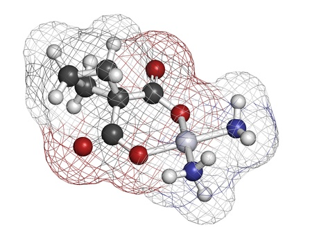 Carboplatin cancer chemotherapy drug, chemical structure. Atoms are represented as spheres with conventional color coding: hydrogen (white), carbon (grey), nitrogen (blue), oxygen (red), platinum (blue-white). 版權商用圖片