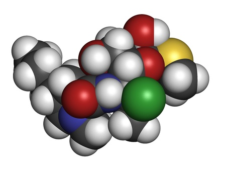 anaerobic: Clindamycin antibiotic drug (lincosamide class), chemical structure. Atoms are represented as spheres with conventional color coding: hydrogen (white), carbon (grey), nitrogen (blue), oxygen (red), sulfur (yellow), chlorine (green) Stock Photo