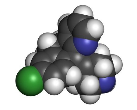 pokrzywka: Desloratadyna przeciwhistaminowy, struktury chemicznej. Stosowany w leczeniu katar sienny, pokrzywka i alergie. Atomy są reprezentowane sfer z konwencjonalnego kodowania kolorów: wodór (biały), węgiel (szary), azotu (niebieski), tlen (czerwony), chlor (zielony). Zdjęcie Seryjne