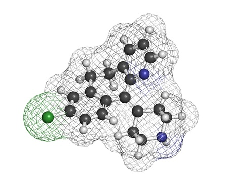 antihistamine: Desloratadine antihistamine drug, chemical structure. Used to treat hay fever, urticaria and allergies. Atoms are represented as spheres with conventional color coding: hydrogen (white), carbon (grey), nitrogen (blue), oxygen (red), chlorine (green). Stock Photo