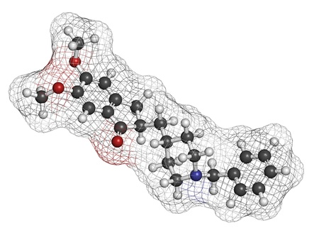 acetylcholinesterase: Donepezil Alzheimers disease drug, chemical structure. Atoms are represented as spheres with conventional color coding: hydrogen (white), carbon (grey), nitrogen (blue), oxygen (red).