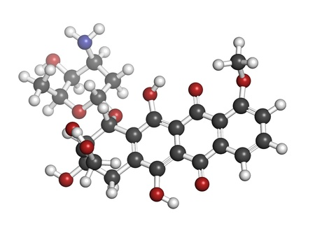 myeloma: Doxorubicin cancer chemotherapy drug, chemical structure. Atoms are represented as spheres with conventional color coding: hydrogen (white), carbon (grey), nitrogen (blue), oxygen (red). Stock Photo